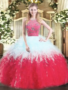 Adorable Floor Length Multi-color Sweet 16 Dresses Tulle Sleeveless Beading and Ruffles
