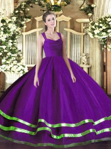 Sleeveless Zipper Floor Length Beading and Ruffled Layers Quince Ball Gowns