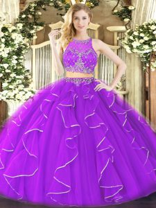 Gorgeous Purple Zipper Quinceanera Dresses Ruffles Sleeveless Floor Length