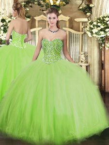 Smart Yellow Green Sleeveless Tulle Lace Up Vestidos de Quinceanera for Military Ball and Sweet 16 and Quinceanera
