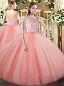 Tulle Bateau Sleeveless Zipper Beading Quinceanera Gowns in Peach