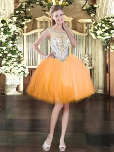 Exquisite Mini Length Orange Prom Evening Gown Scoop Sleeveless Zipper