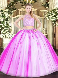 Custom Made Rose Pink Two Pieces Scoop Sleeveless Tulle Floor Length Zipper Beading Quinceanera Dresses