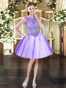 Lavender Scoop Lace Up Beading Prom Dress Sleeveless