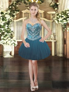 Teal Lace Up Sweetheart Beading Prom Dress Tulle Sleeveless