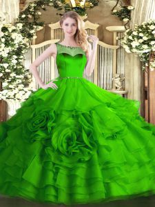 Popular Ball Gowns Quince Ball Gowns Scoop Organza Sleeveless Floor Length Zipper