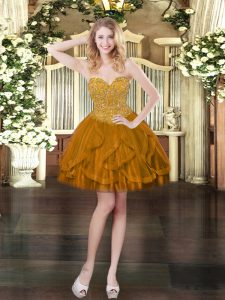 Spectacular Brown Sweetheart Lace Up Beading and Ruffles Prom Evening Gown Sleeveless