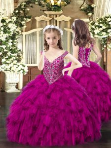 Stunning Fuchsia V-neck Lace Up Beading and Ruffles Pageant Dresses Sleeveless
