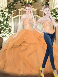 Orange Red Lace Up Sweet 16 Quinceanera Dress Beading and Ruffles Sleeveless Floor Length
