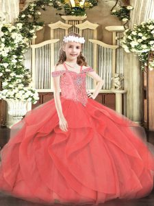 New Arrival Sleeveless Beading and Ruffles Lace Up Custom Made Pageant Dress