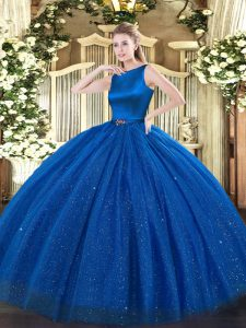 Floor Length Clasp Handle Sweet 16 Dresses Blue for Military Ball and Sweet 16 and Quinceanera with Belt