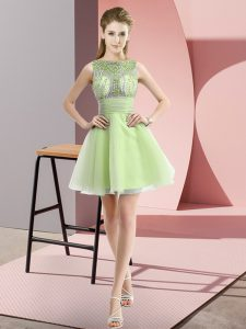 Sleeveless Beading and Bowknot Zipper Dress for Prom