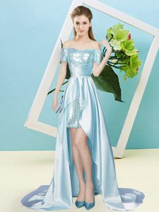 Traditional Off The Shoulder Short Sleeves Lace Up Light Blue Elastic Woven Satin and Sequined