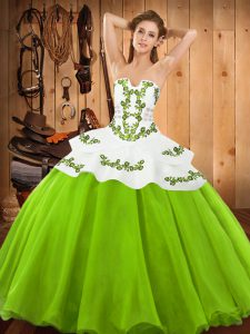 Flirting Ball Gowns Quinceanera Gown Strapless Satin and Organza Sleeveless Floor Length Lace Up