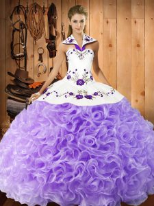 Elegant Floor Length Lace Up Quinceanera Dresses Lavender for Military Ball and Sweet 16 and Quinceanera with Embroidery
