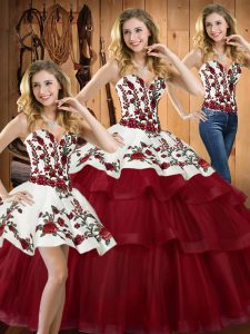 Wine Red Ball Gowns Organza Sweetheart Sleeveless Embroidery Lace Up Quince Ball Gowns Sweep Train
