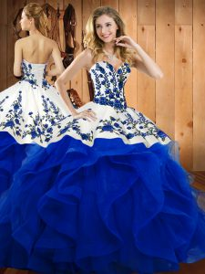 Super Floor Length Blue Sweet 16 Dresses Sweetheart Sleeveless Lace Up