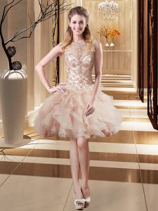 Clearance Peach Empire Beading Prom Evening Gown Lace Up Organza Sleeveless Mini Length