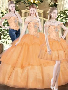 Excellent Orange Red Sleeveless Beading and Ruffled Layers Floor Length Quinceanera Dress