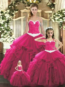 Smart Floor Length Ball Gowns Sleeveless Red Quinceanera Gowns Lace Up