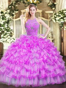 Fine Floor Length Ball Gowns Sleeveless Lilac Quinceanera Dresses Zipper