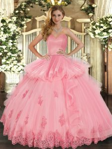 Super Sweetheart Sleeveless Lace Up Quinceanera Dress Watermelon Red Tulle