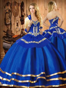 Sumptuous Floor Length Blue Quinceanera Dress Sweetheart Sleeveless Lace Up