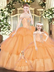 Orange Red Ball Gowns Tulle Off The Shoulder Sleeveless Beading Floor Length Lace Up Ball Gown Prom Dress