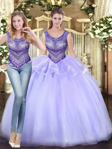 Classical Beading and Ruffles Quinceanera Dress Lavender Lace Up Sleeveless Floor Length