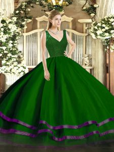 Green A-line Tulle V-neck Sleeveless Beading and Ruffled Layers Floor Length Zipper 15 Quinceanera Dress