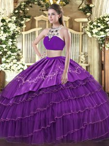 Purple Backless 15 Quinceanera Dress Beading and Embroidery and Ruffled Layers Sleeveless Floor Length