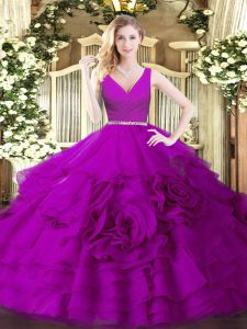 Glittering Fuchsia Fabric With Rolling Flowers Zipper Quinceanera Dresses Sleeveless Floor Length Beading