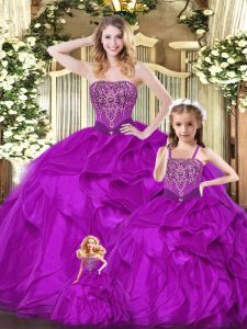 Amazing Fuchsia Organza Lace Up Quinceanera Dress Sleeveless Floor Length Beading and Ruffles