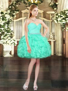 Elegant Sleeveless Beading and Lace and Ruffles Lace Up Homecoming Dress