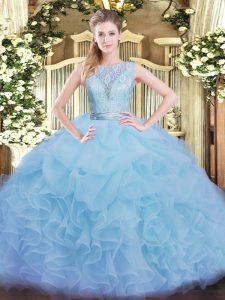 Floor Length Aqua Blue Quince Ball Gowns Scoop Sleeveless Backless