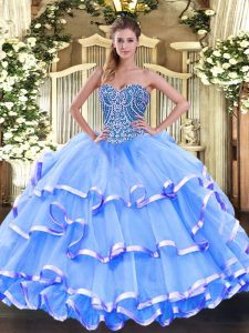Exceptional Baby Blue Sweetheart Neckline Beading and Ruffled Layers Vestidos de Quinceanera Sleeveless Lace Up