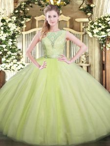 Chic Ball Gowns Sweet 16 Dress Yellow Green Scoop Tulle Sleeveless Floor Length Backless