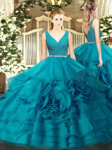Teal Sleeveless Beading Floor Length Sweet 16 Dresses