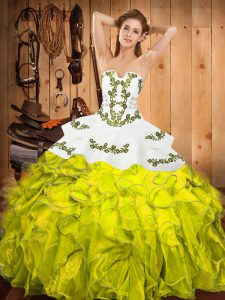 Deluxe Sleeveless Embroidery and Ruffles Lace Up Quinceanera Dress