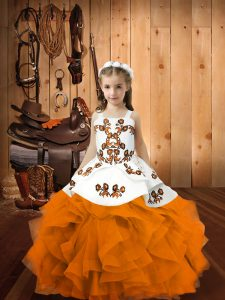 Beautiful Organza Sleeveless Floor Length Pageant Dress for Teens and Embroidery and Ruffles