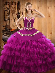 Modern Fuchsia Ball Gowns Embroidery and Ruffled Layers Quinceanera Dresses Lace Up Satin and Organza Sleeveless Floor Length