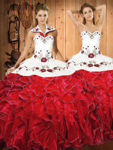 Popular White And Red Ball Gowns Halter Top Sleeveless Satin and Organza Floor Length Lace Up Embroidery and Ruffles Quince Ball Gowns