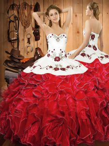 Hot Sale Halter Top Sleeveless Lace Up Sweet 16 Dress White And Red Satin and Organza