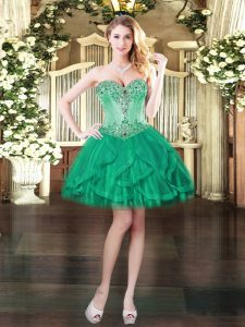 Ball Gowns Dress for Prom Turquoise Sweetheart Tulle Sleeveless Mini Length Lace Up