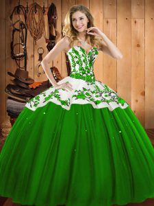 Floor Length Green Quinceanera Dress Satin and Tulle Sleeveless Appliques and Embroidery