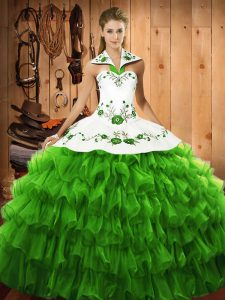 Eye-catching Satin and Organza Lace Up Quinceanera Gowns Sleeveless Floor Length Embroidery and Ruffled Layers