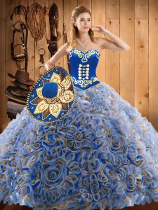Charming Multi-color Ball Gowns Embroidery 15th Birthday Dress Lace Up Satin and Fabric With Rolling Flowers Sleeveless With Train