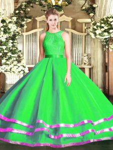Green Sleeveless Lace Floor Length Sweet 16 Quinceanera Dress