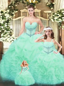 Best Apple Green Lace Up Sweetheart Beading and Ruffles 15 Quinceanera Dress Tulle Sleeveless