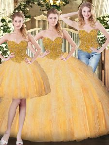 Elegant Gold Lace Up Vestidos de Quinceanera Beading and Ruffles Sleeveless Floor Length